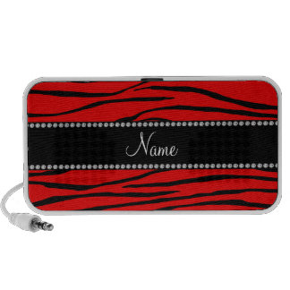 Personalized name bright red zebra stripes mini speakers
