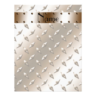 Personalized name brown diamond plate steel custom flyer