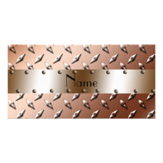 Personalized name brown diamond plate steel custom photo card