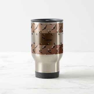 Personalized name brown diamond plate steel travel mug