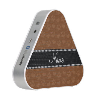 Personalized name brown hearts and paw prints