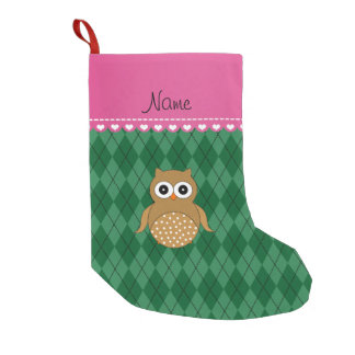 Personalized name brown owl green argyle small christmas stocking