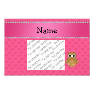 Personalized name brown owl pink hearts photographic print