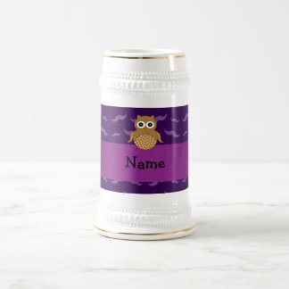 Personalized name brown owl purple mustaches mug