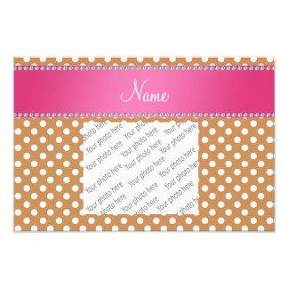 Personalized name brown polka dots pink stripe art photo
