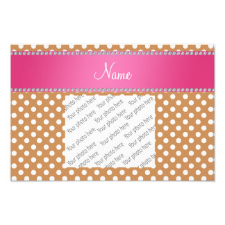 Personalized name brown polka dots pink stripe photographic print
