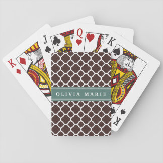 Personalized Name Brown Quatrefoil Pattern Playing Cards