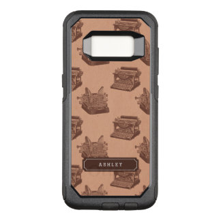 Personalized Name Brown Vintage Typewriter Pattern OtterBox Commuter Samsung Galaxy S8 Case