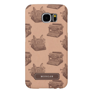 Personalized Name Brown Vintage Typewriter Pattern Samsung Galaxy S6 Cases