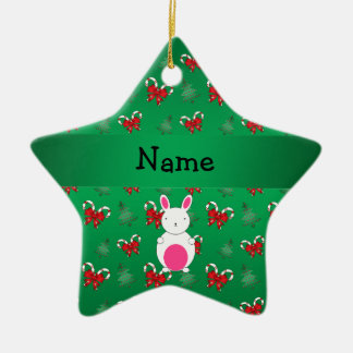 Personalized name bunny green candy canes bows christmas ornament
