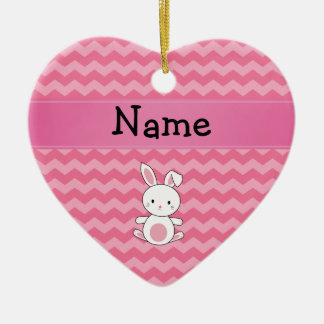 Personalized name bunny pink chevrons christmas ornament