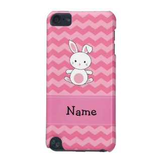 Personalized name bunny pink chevrons iPod touch (5th generation) cases