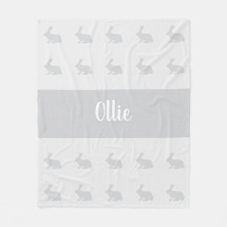 Personalized name bunny rabbit throw rug fleece blanket
