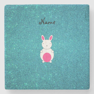 Personalized name bunny turquoise glitter stone coaster