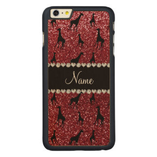 Personalized name burgundy glitter giraffes carved® maple iPhone 6 plus slim case
