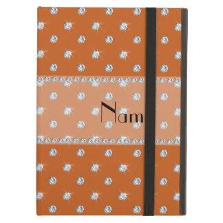 Personalized name burnt orange diamonds iPad cover