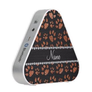 Personalized name burnt orange glitter cat paws