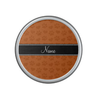 Personalized name burnt orange hearts and paw bluetooth speaker