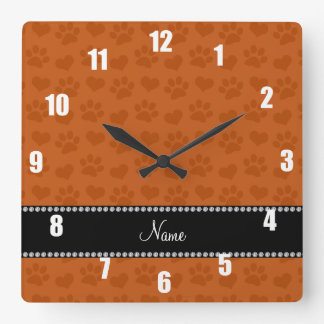 Personalized name burnt orange hearts and paw prin square wall clock