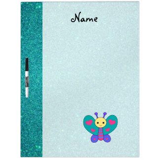 Personalized name butterfly turquoise glitter Dry-Erase whiteboards