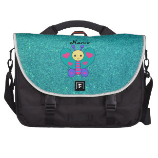 Personalized name butterfly turquoise glitter computer bag