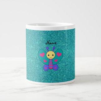 Personalized name butterfly turquoise glitter jumbo mug