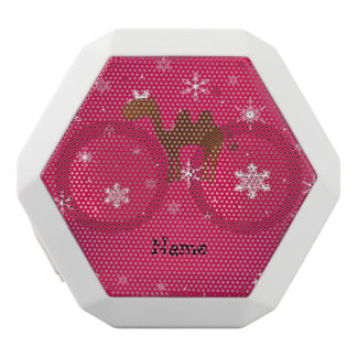 Personalized name camel pink snowflakes white boombot rex bluetooth speaker
