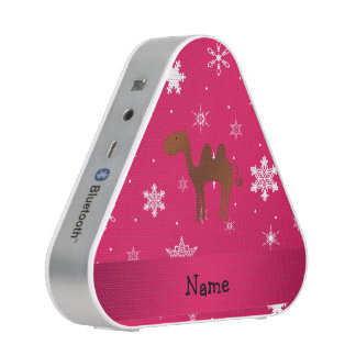 Personalized name camel pink snowflakes speaker
