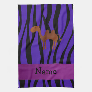 Personalized name camel purple zebra stripes tea towel