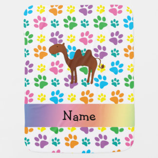 Personalized name camel rainbow paws baby blanket
