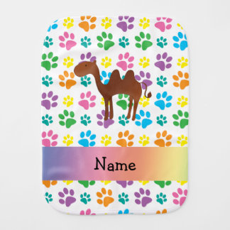 Personalized name camel rainbow paws burp cloth