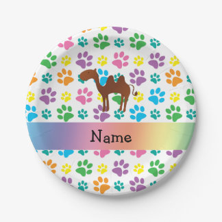 Personalized name camel rainbow paws paper plate