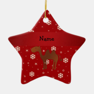Personalized name camel red snowflakes christmas ornament