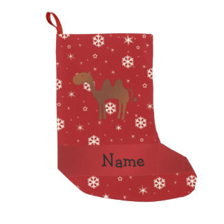 Personalized name camel red snowflakes small christmas stocking