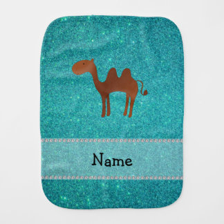 Personalized name camel turquoise glitter burp cloth