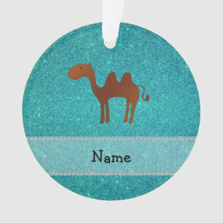 Personalized name camel turquoise glitter ornament