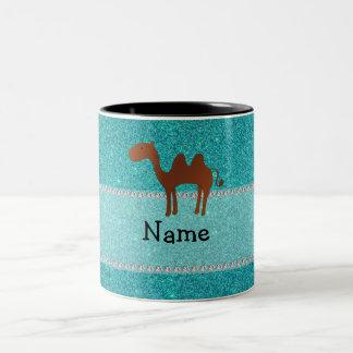 Personalized name camel turquoise glitter Two-Tone coffee mug