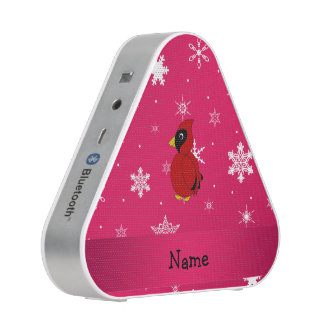 Personalized name cardinal pink snowflakes speaker