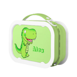 personalized name cartoon dinosaur T-rex Lunch Box