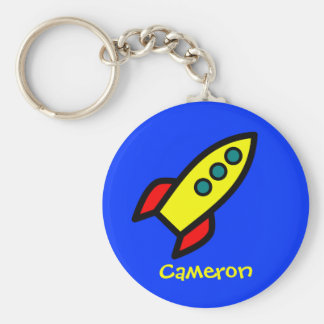 Personalized Name - Cartoon Rocket Ship Key Ring