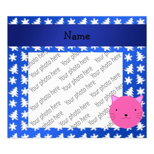 Personalized name cat blue snowflakes trees photograph