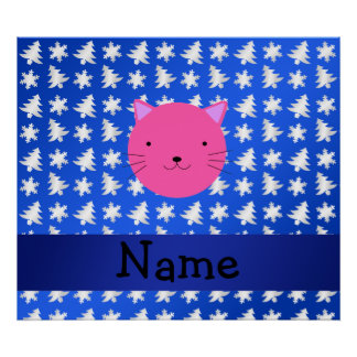 Personalized name cat blue snowflakes trees print
