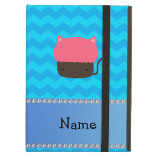 Personalized name cat cupcake blue chevrons case for iPad air