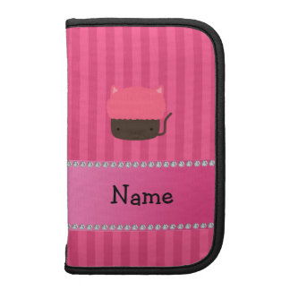 Personalized name cat cupcake pink stripes organizer