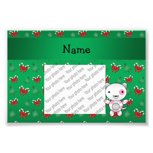 Personalized name cat green candy canes bows photograph