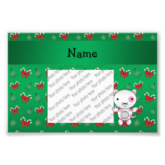 Personalized name cat green candy canes bows photo print