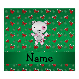 Personalized name cat green candy canes bows posters