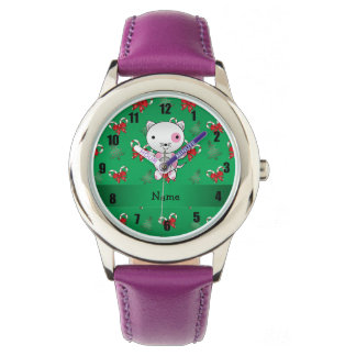 Personalized name cat green candy canes bows watch