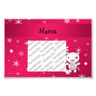 Personalized name cat pink snowflakes photographic print