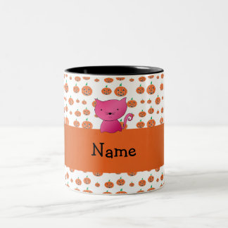 Personalized name cat pumpkins pattern mugs